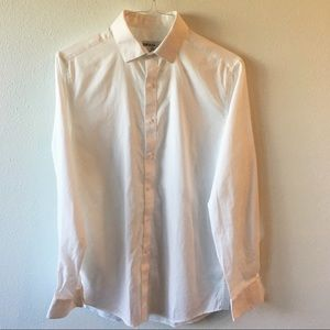 White Textured Slim Fit Stretch Dress Shirt